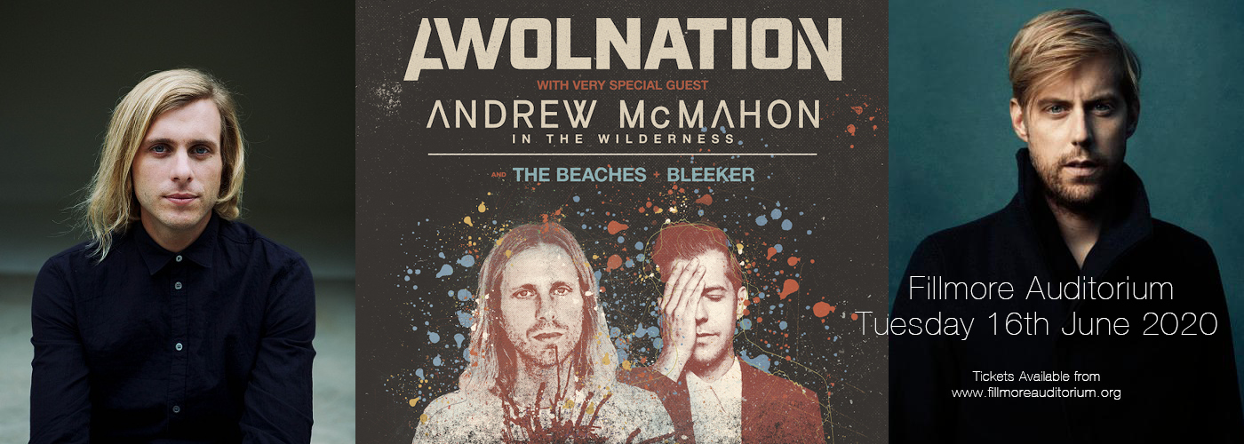 Awolnation & Andrew McMahon [CANCELLED] at Fillmore Auditorium